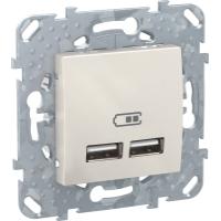 2 USB зарядное устройство, 2.1А, беж