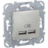 2 USB зарядное устройство, 2.1А, алюм