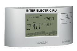 041000011 | FEELING Электронный комнатный хронотермостат с цифровым недельным таймером, 1 перекидной контакт 6А, проводной, белый