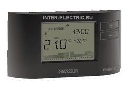 041000021 | FEELING Электронный комнатный хронотермостат с цифровым недельным таймером, 1 перекидной контакт 6А, проводной антрацит (черный)