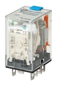 Миниатюрное силовое реле; 1 перекидной контакт 16А (= 110В DC) блокируемая кнопка проверки + светодиод