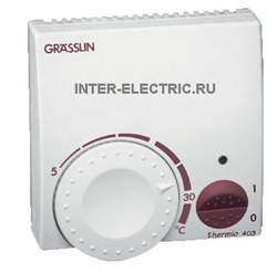 044600011 | THERMIO 513 Комнатный термостат для котла с биметаллическим регулятором, 230В AC, 1 НО 10А, светодиодный индикатор